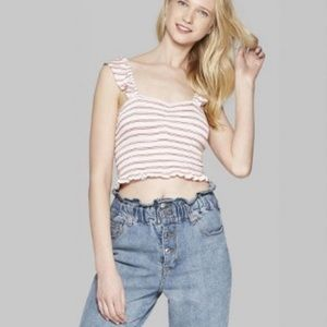 Wild Fable Striped Ruffle Crop Top NWT Size XL